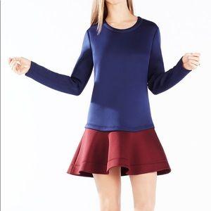 BCBG MAXAZRIA Genesa Flounce Hem Colorblock Dress